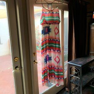 Boutique Maxi Dress, Southwest Print